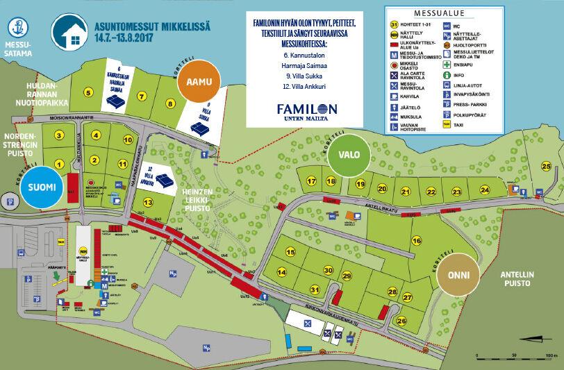 Asuntomessut 2017 Mikkeli Familon-kohteet kartalla