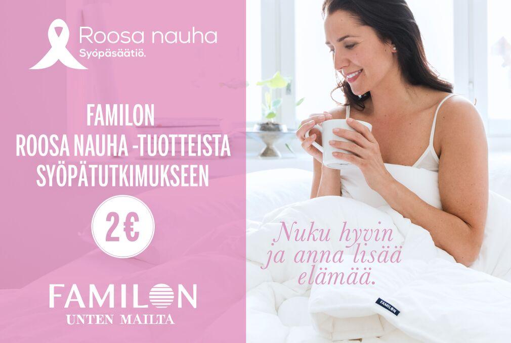 Familon Extralife Roosa nauha -tyyny